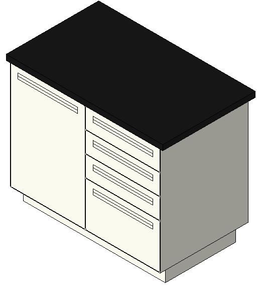 44in Island Exam-Treatment Table - 1 Door, 4 Drawer
