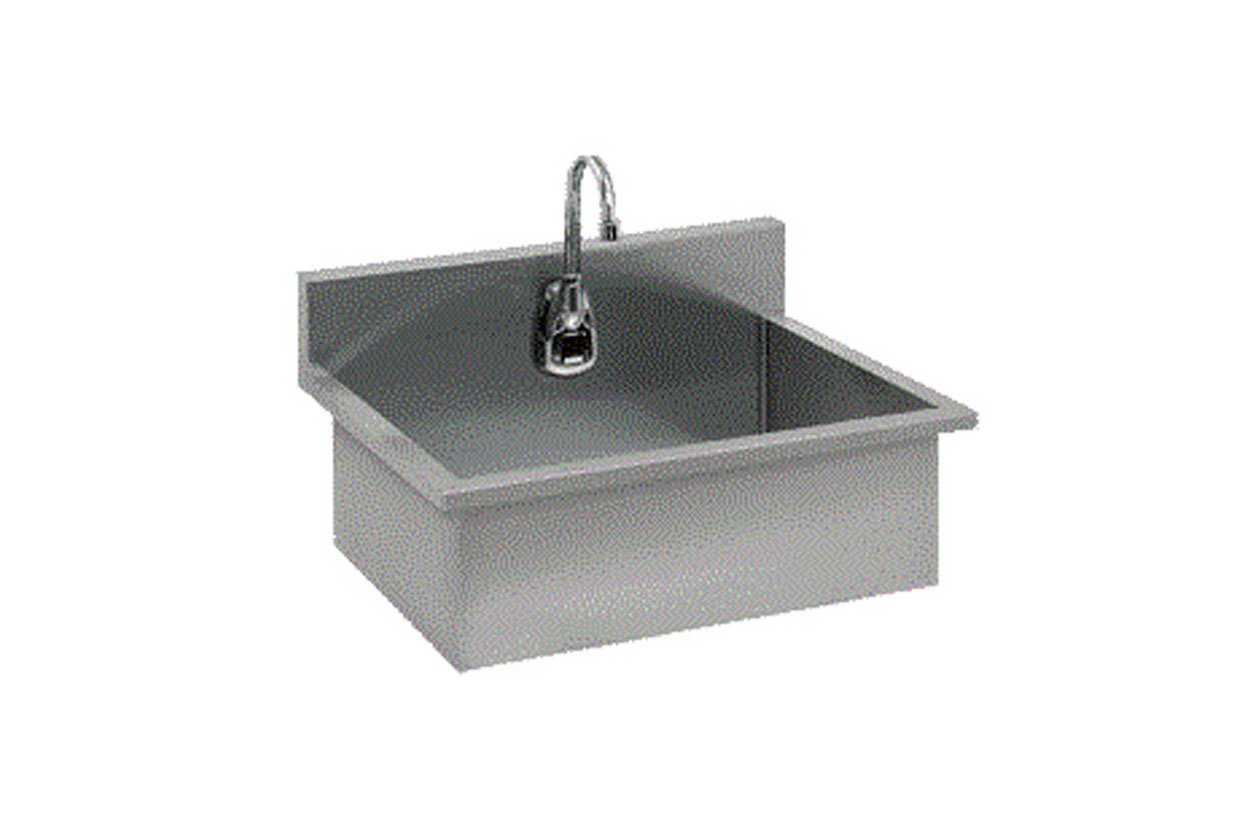 Scrub-sink--infrared-faucet-and-mixing-valve