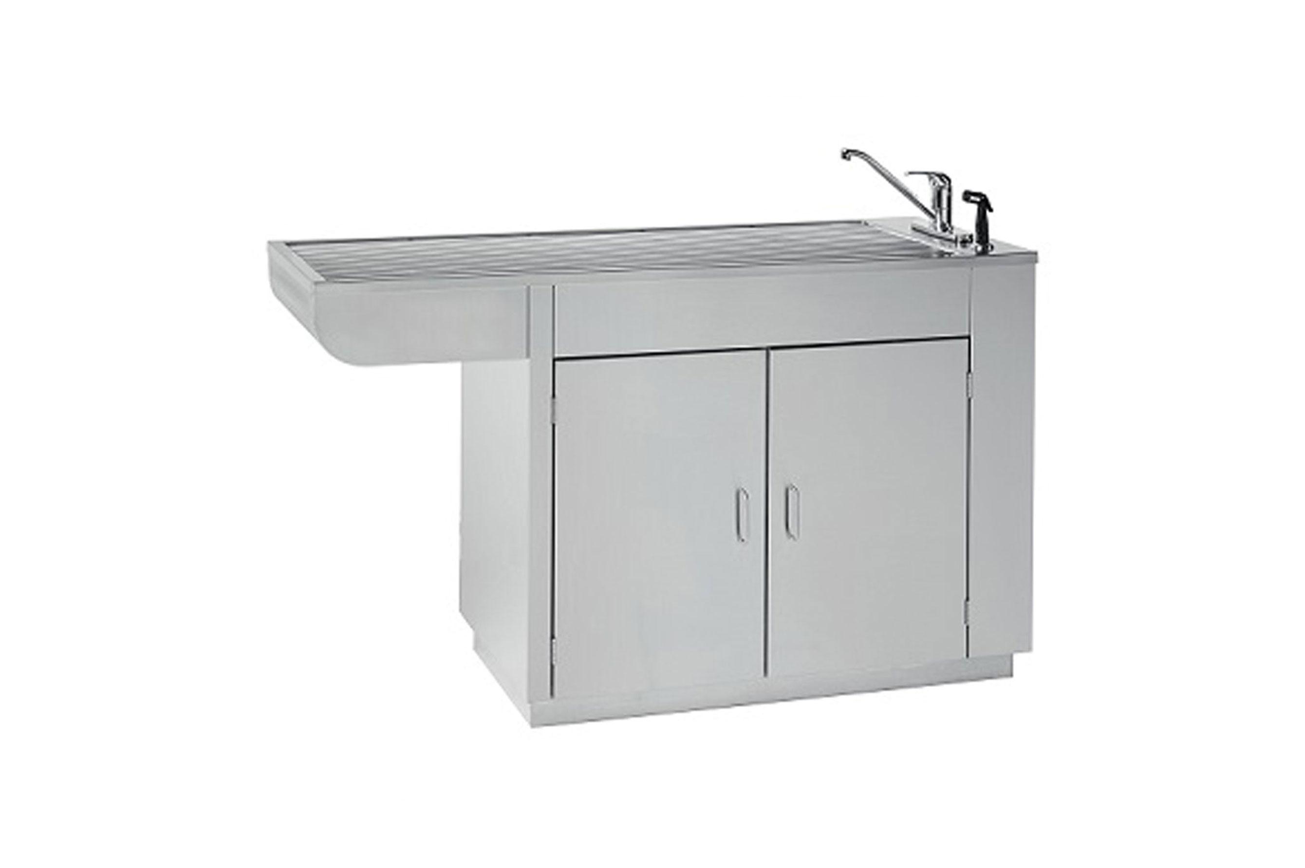 Stainless-steel-wetprep,-choice-of-tub,-2-doors